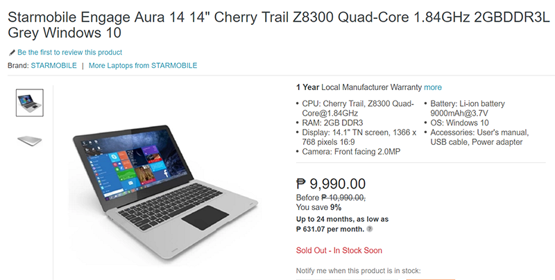 Starmobile Engage Aura 14 Laptop Lazada