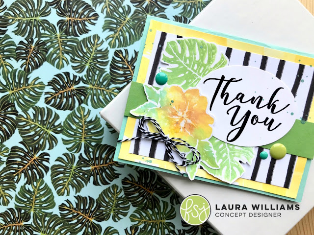 Botanical Thank You Card featuring Fun Stampers Journey In The Tropics and Many Thanks Stamp Sets from the RSVP Collection #lauralooloo #funstampersjourney #thankyoucards #handmadecards #rubberstamps #FSJRSVP
