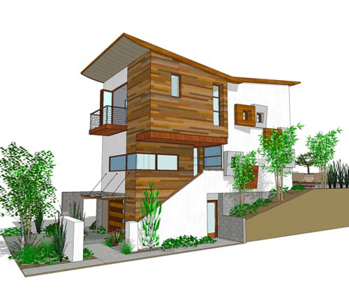 Level 3 storey contemporary house and 3 bedroom modern for Vacation house plans sloped lot