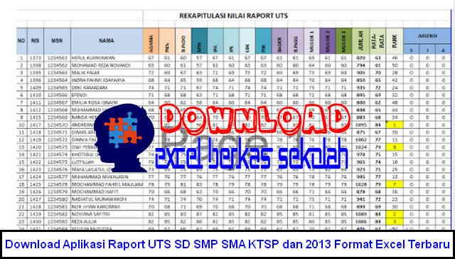 Download Aplikasi Raport UTS SD SMP SMA KTSP dan 2013 Format Excel Terbaru