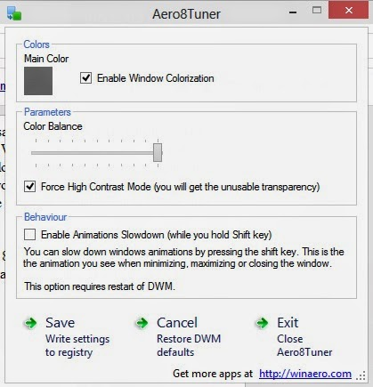 Enable Aero Glass Transparency Effect in Windows 8