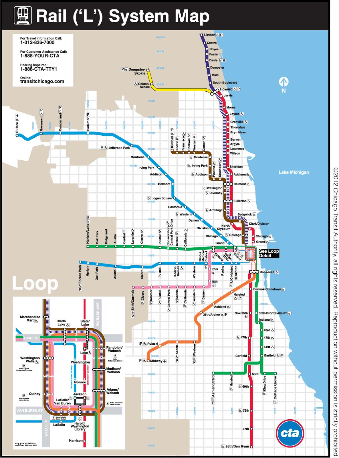 Cta Subway Map Chicago.Chicago Transit Map Free Printable Maps