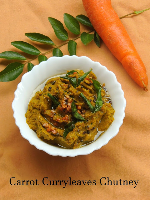 Carrot curry leaves chutney, curryleaves carrot chutney
