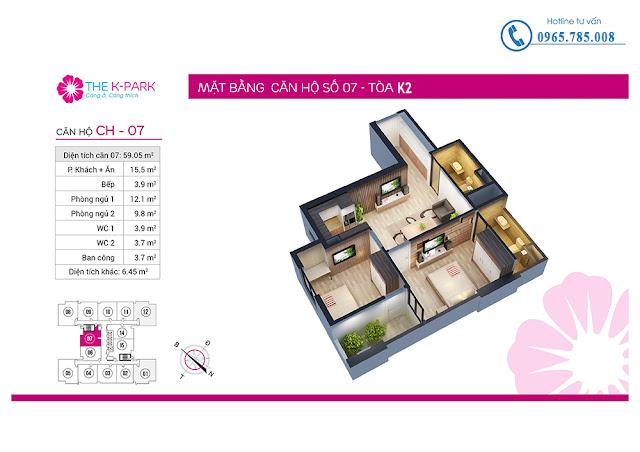 Thiết kế căn hộ số 07 tòa k2