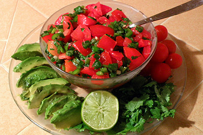 Bowl of Salsa with Tomatoes, Lime, Sliced Avocado, Cilantro