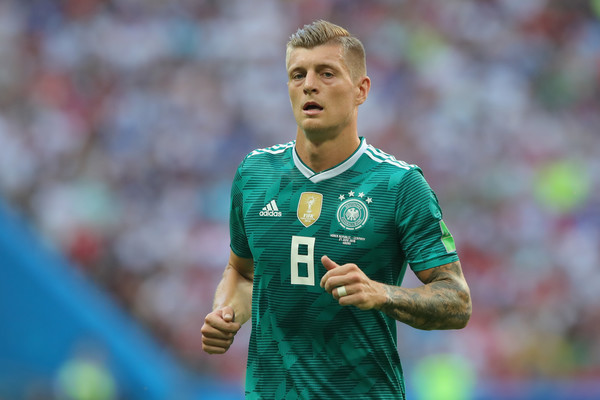 Toni Kroos of Germany looks on during the 2018 FIFA World Cup Russia group F match between Korea Republic and Germany at Kazan Arena on June 27, 2018 in Kazan, Russia.