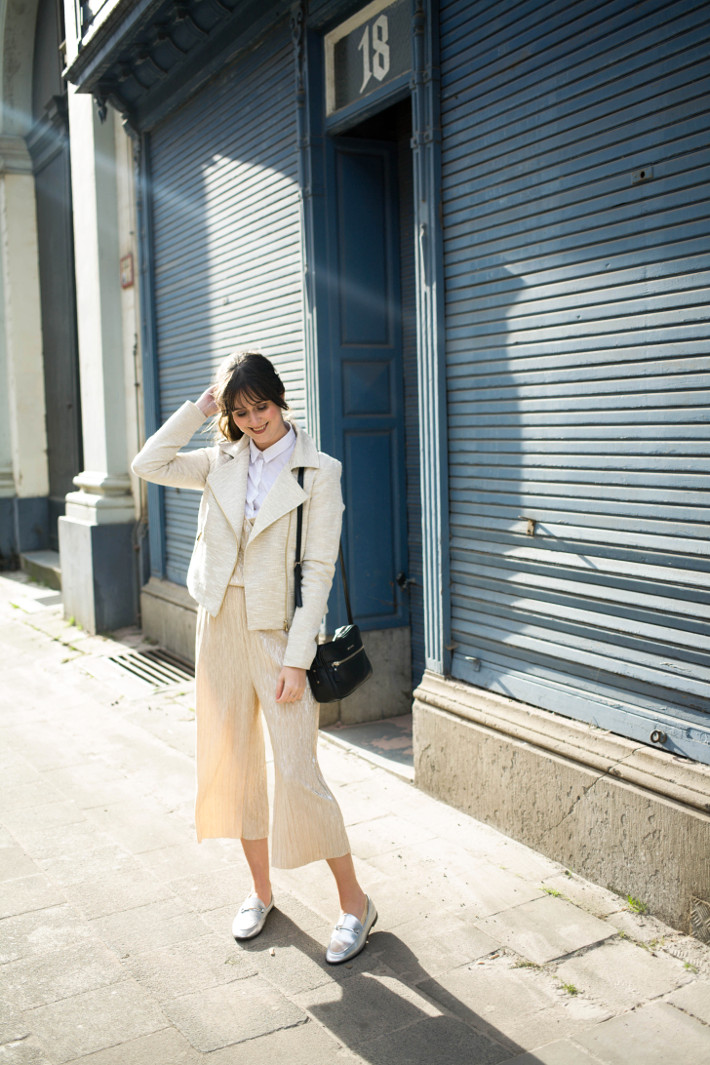 silver loafers, gold culottes jumpsuit