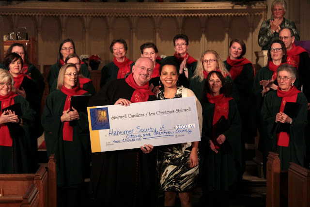 $2000 charitable gift to the Alzheimer Society presented at Knox concert