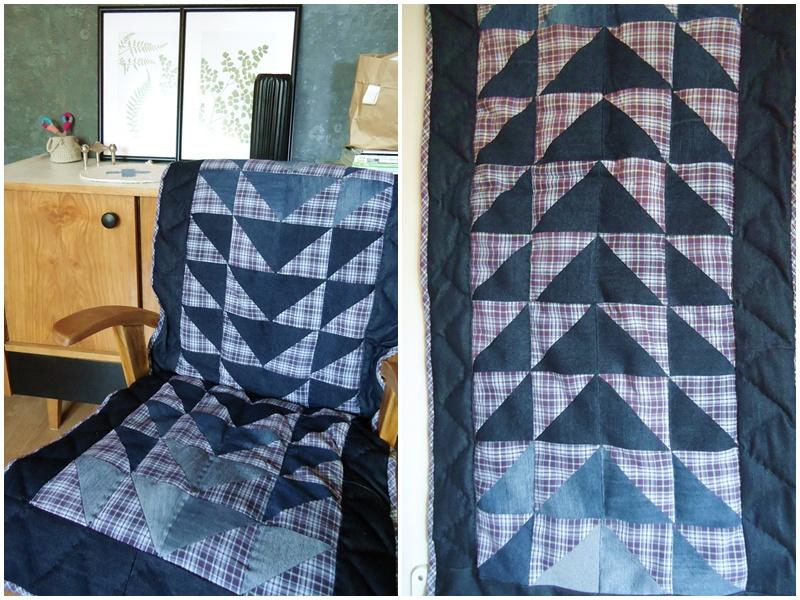 recyklingowy patchwork, nakrycie na fotel, patchworkowa kołderka