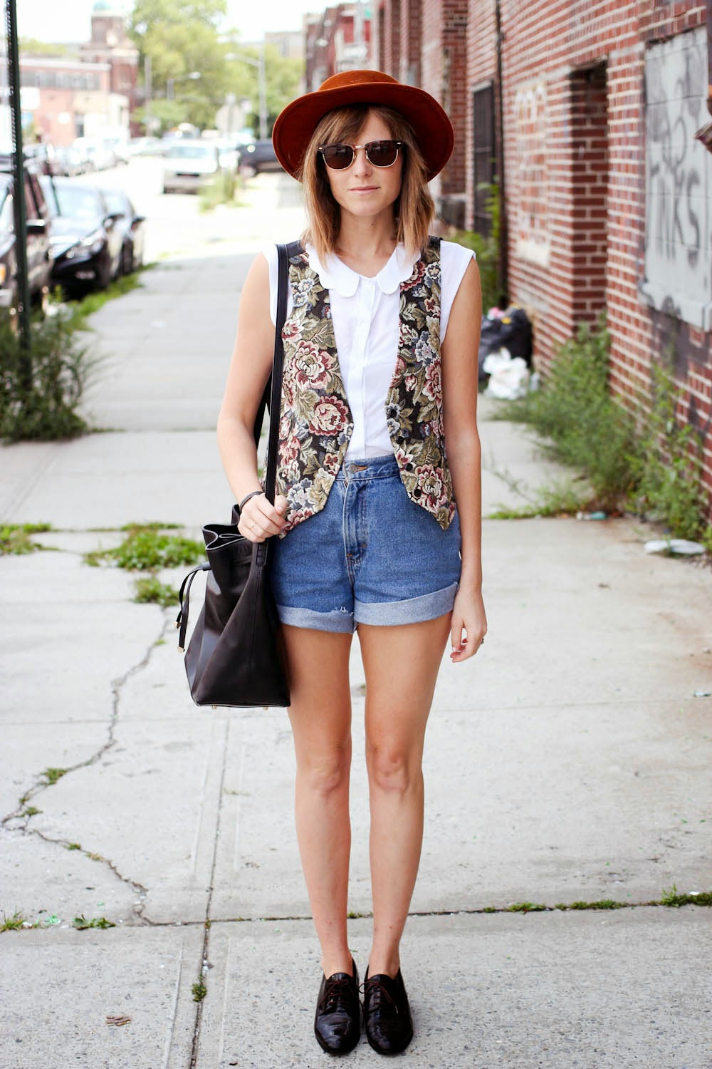 vintage floral vest, vintage shorts, wessley nyc bag