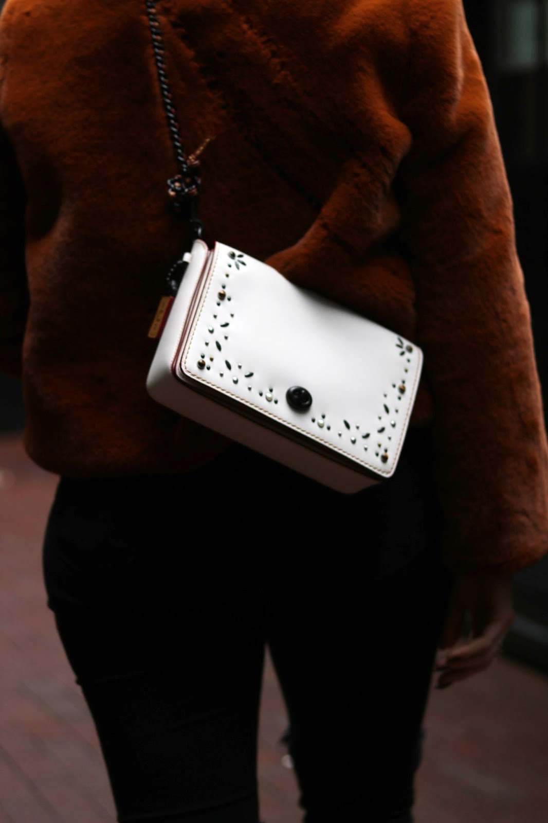 Coach Create Dinky 45 white custom handbag faux fur coat outfit vancouver fashion blogger aleesha harris