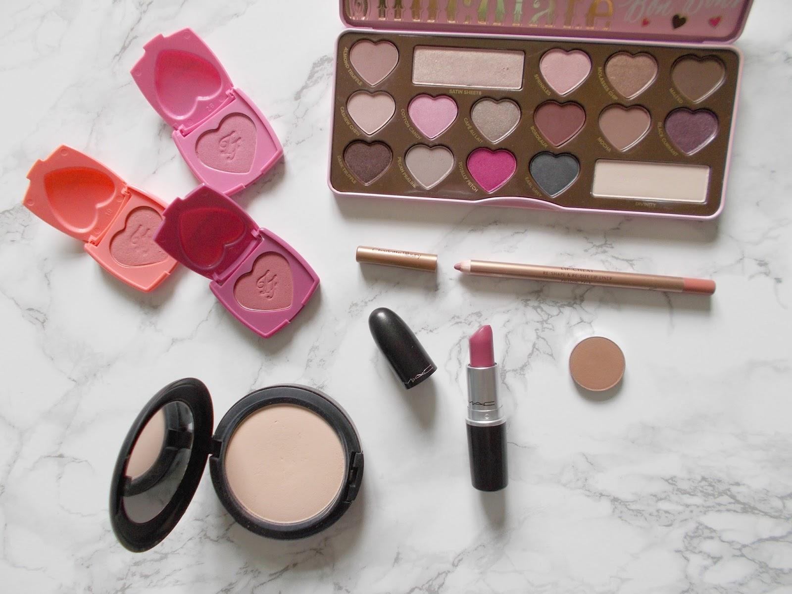 wishlist purchases too faced love flush blushes chocolate bon bons palette mac studio fix powder charlotte tilbury pillowtalk lip cheat mac plumful lipstick