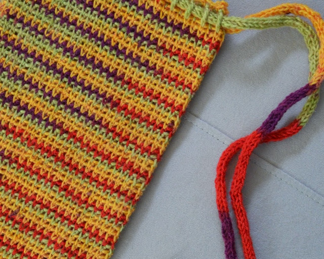 Close up of WIP project bag in variegated yarn with i-cord used as a drawstring.