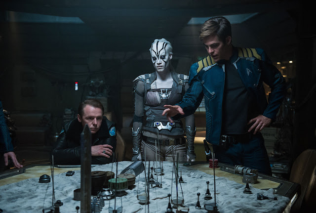 "Simon Pegg, Sofia Boutella, and Chris Pine in ""Star Trek Beyond"""