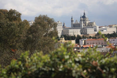 Almudena Cathedral from Temple of Debod
