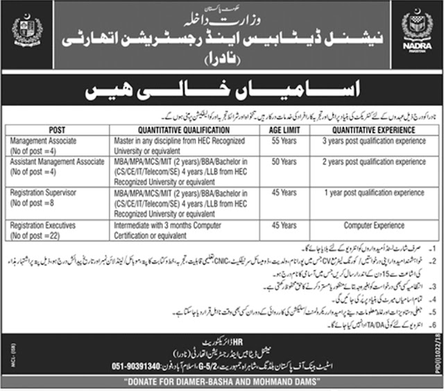 Latest NADRA Jobs in Pakistan 2018