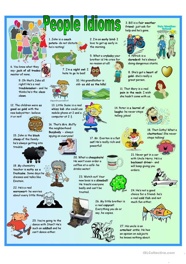 English Idioms Infographics, Slides, Videos and Printables For ...
