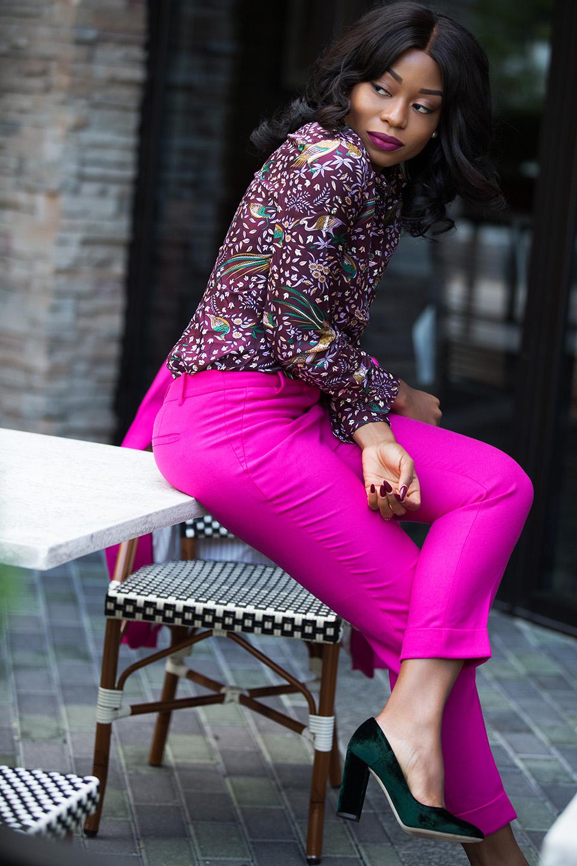 jcrew rhodes blazer, drake print silk blouse, velvet pumps, www.jadore-fashion.com