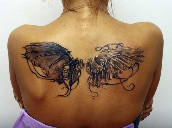 iyi kötü melek kanadı dövmesi