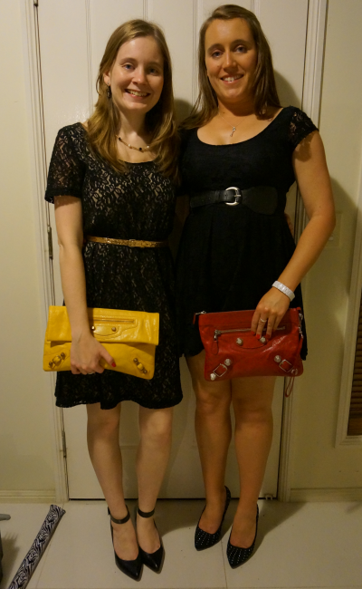 Away From Blue with my sister belted black lace dresses balenciaga clutches heels