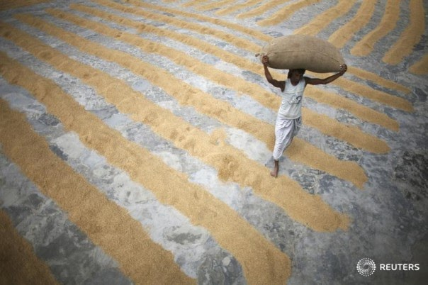 A worker carries a sack of rice at a farm in Dhaka, Bangladesh, on April 21, 2009. (Credit: Reuters/Andrew Biraj) Click to Enlarge.
