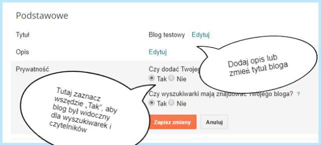"""Ustawienie """"Podstawowe"""" na Bloggerze (Prywatność)."""