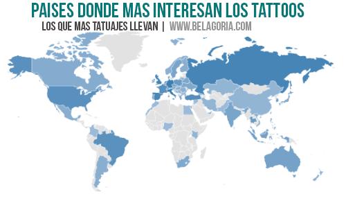 Mapa interés en los tatuajes por país en Instagram