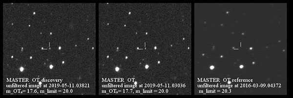 Optical transient observed in the GW skymap location (Source: Moscow State University)