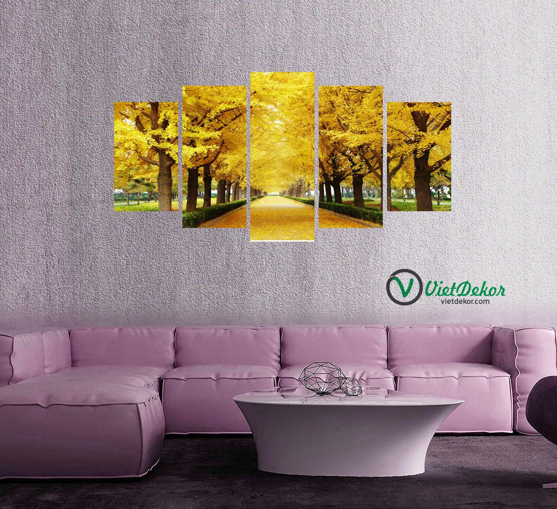 Tranh bộ 5 rừng cây lá vàng phòng khách đẹp