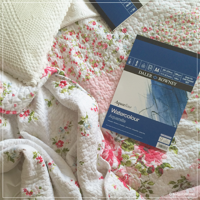 Daler-Rowney-Watercolour-Pad-on-Vintage-Floral-Bedding