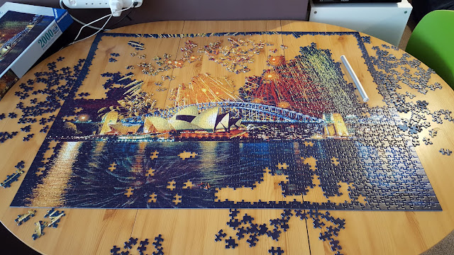 Ravensburger Fireworks Over Sydney 2000 Piece Puzzle - Almost complete!