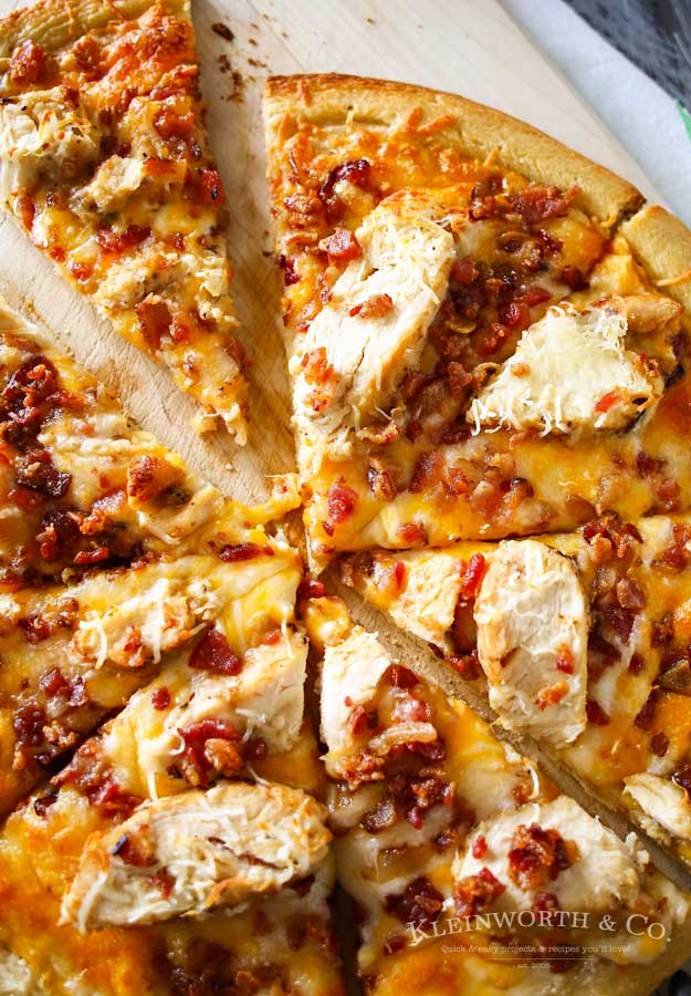 Chicken Bacon Pizza with Garlic Cream Sauce from Kleinworth & Co.