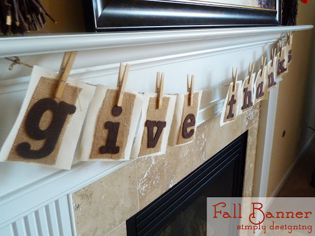 Give Thanks Banner | #falldecor #fallbanner #fall #givethanks #thanksgiving #banner #bunting #burlap #sizzix