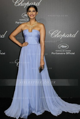 Sonam Kapoor Lavender Chiffon Pleated Simple Celebrity Prom Dress