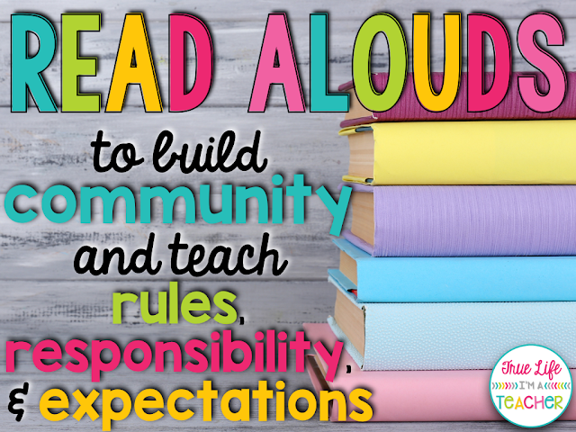 Great list of books and read alouds perfect for back to school that help build and foster a classroom community, and help teach rules, procedures, responsibility, and expectations.
