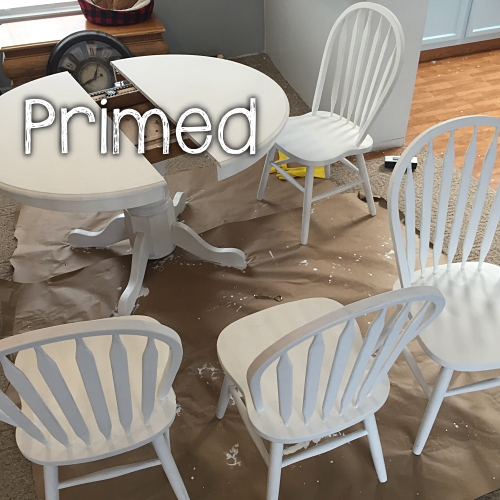 table and chairs primed for paint