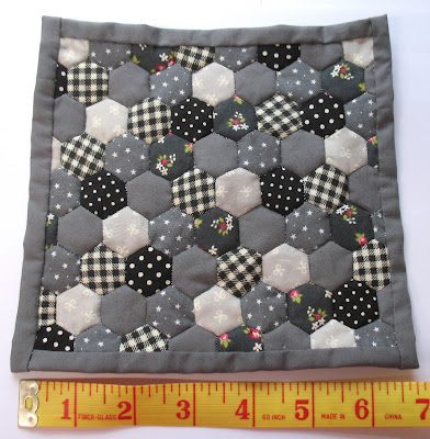 grey hexagon doll quilt
