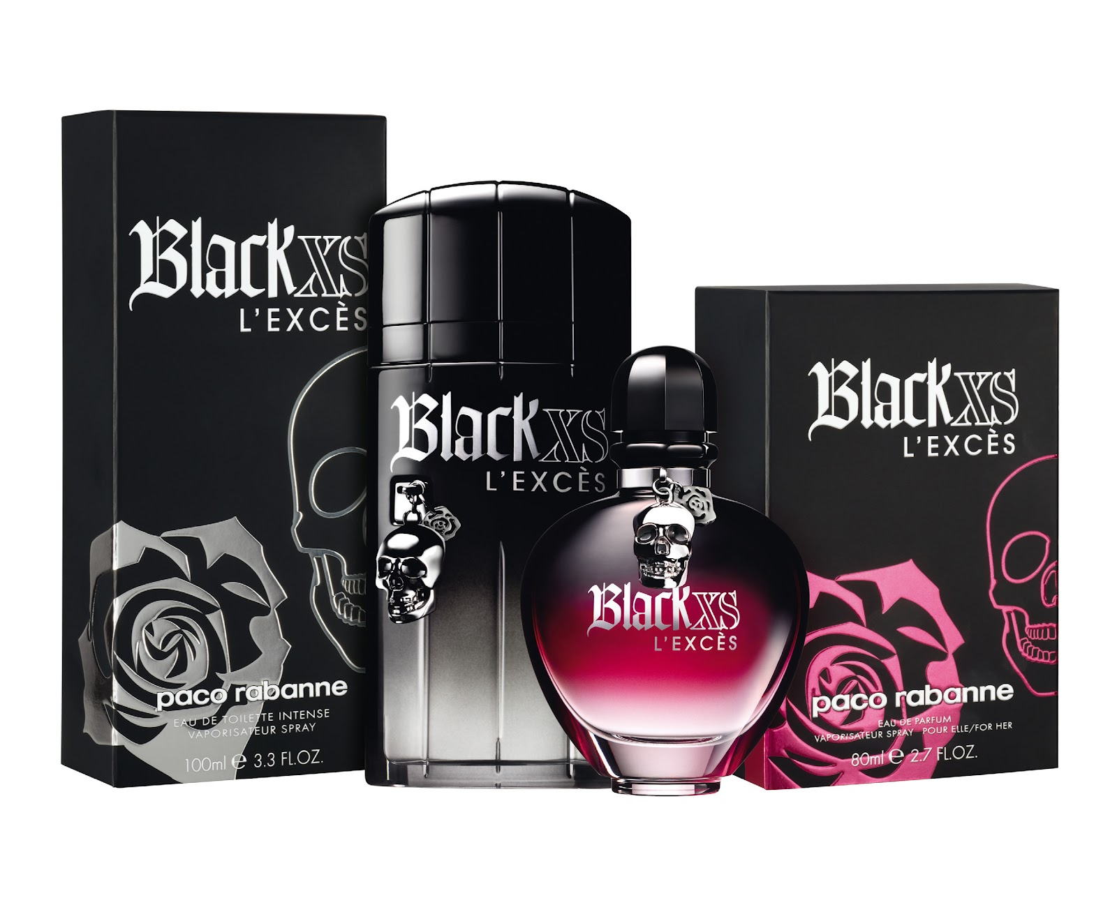 black xs l 39 exc s for him and for her by paco rabanne i 39 m. Black Bedroom Furniture Sets. Home Design Ideas