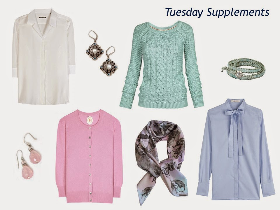 "four pastel tops, with accessories, to wear with a navy six-piece ""Monday Morning Wardrobe"""