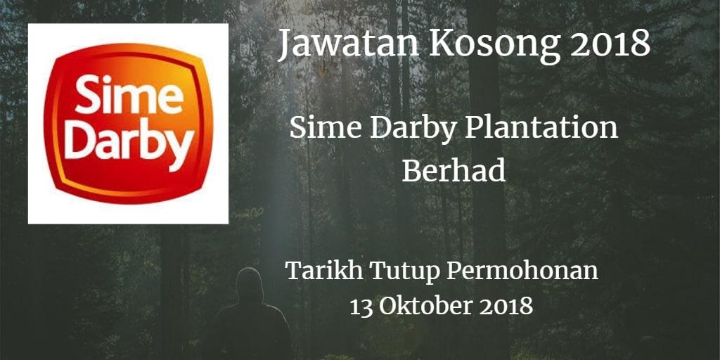 Jawatan Kosong Sime Darby Plantation Berhad 13 Oktober 2018