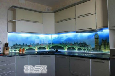 3D backsplash images on glass panel with under cabinet LED lights