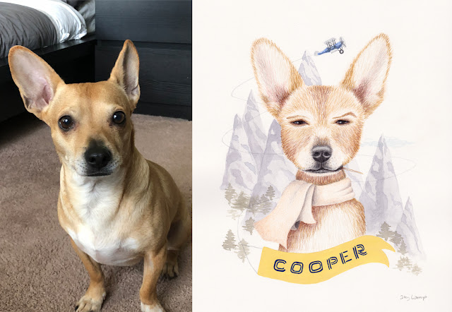 Cooper reference photo next to colored pencil and watercolor portrait