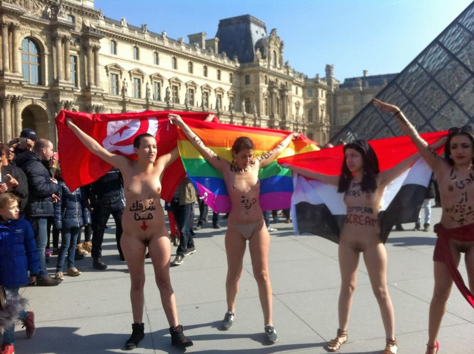 Arab, Iranian Women Protest Naked In Paris-4894