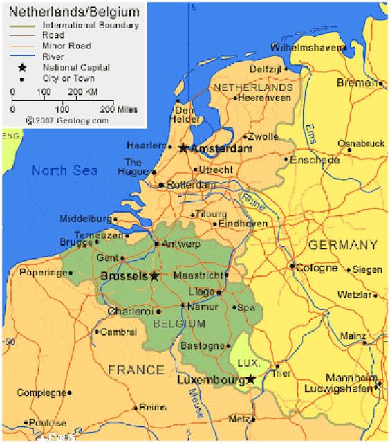 Gambar Peta wilayah negara Belgia HD