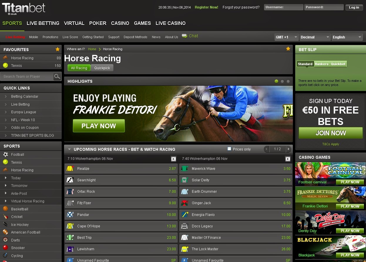Titanbet Horse Racing Screen