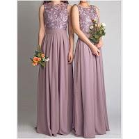 Elegant Floor Length Sleeveless Lace Bodice Chiffon Bridesmaid Dress