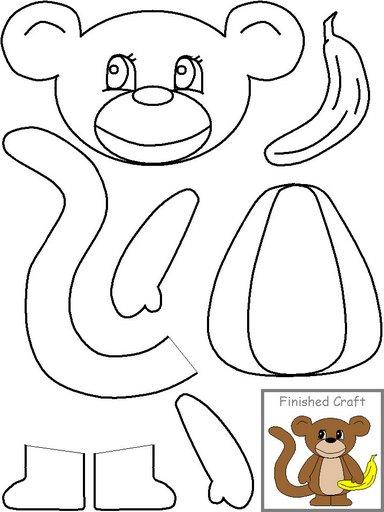 Sugest o de atividade escolar figuras para recortar e for Sock monkey face template