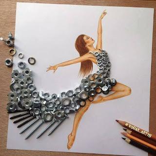 رسمة للفنان إيدجر باستخدام قطع غيار وبراغي