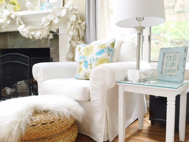 Northern California open concept home tour, white slip covers, white mantel, large windows