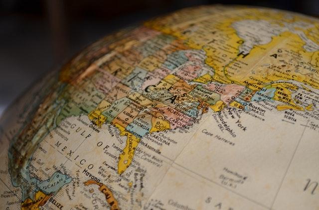 Detalle de globo terráqueo en la parte del Golfo de México